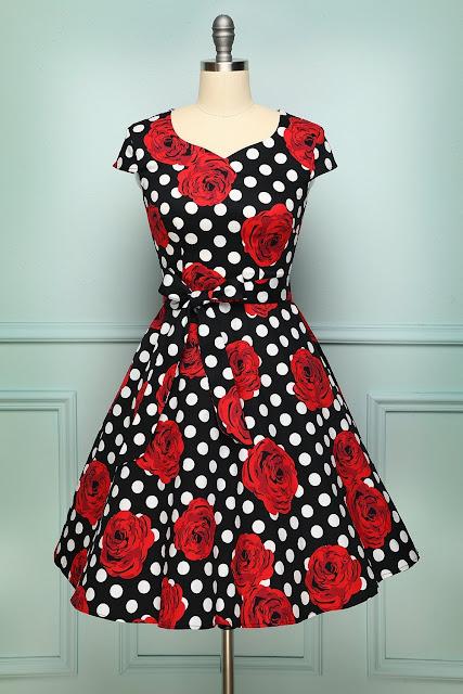 Rose Dots 1950s Dress