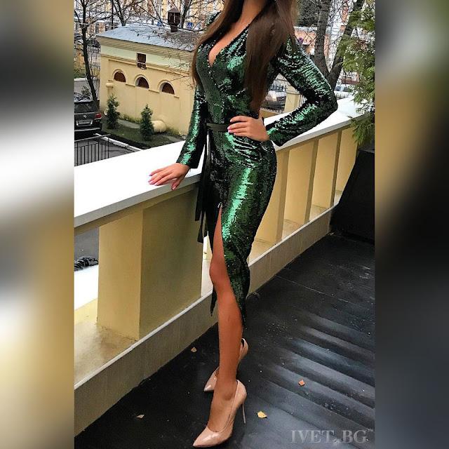 Μακρυμάνικο μίντι πράσινο  φόρεμα ASHANTI OLIVE