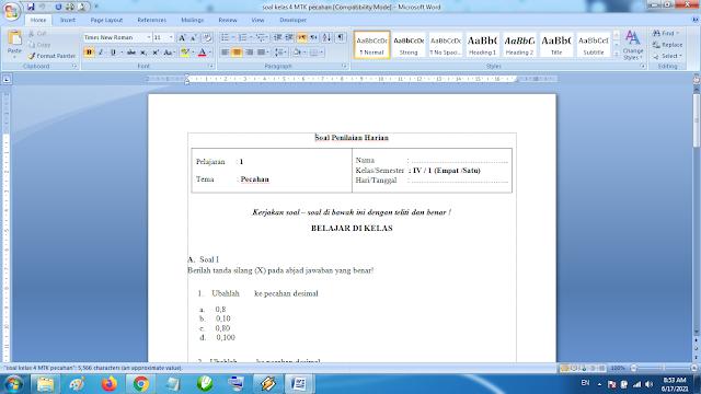 Soal Penilaian Harian Matematika Kelas 4 Pecahan Kurikulum 2013 Revisi Terbaru