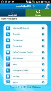 tampilan layar mobile BRIS ke 1