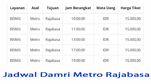 Jadwal Bus Damri Metro Rajabasa
