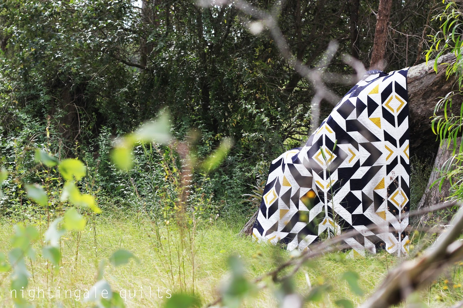 Nightingale Quilts New Pattern Bravo Indigo Quilt