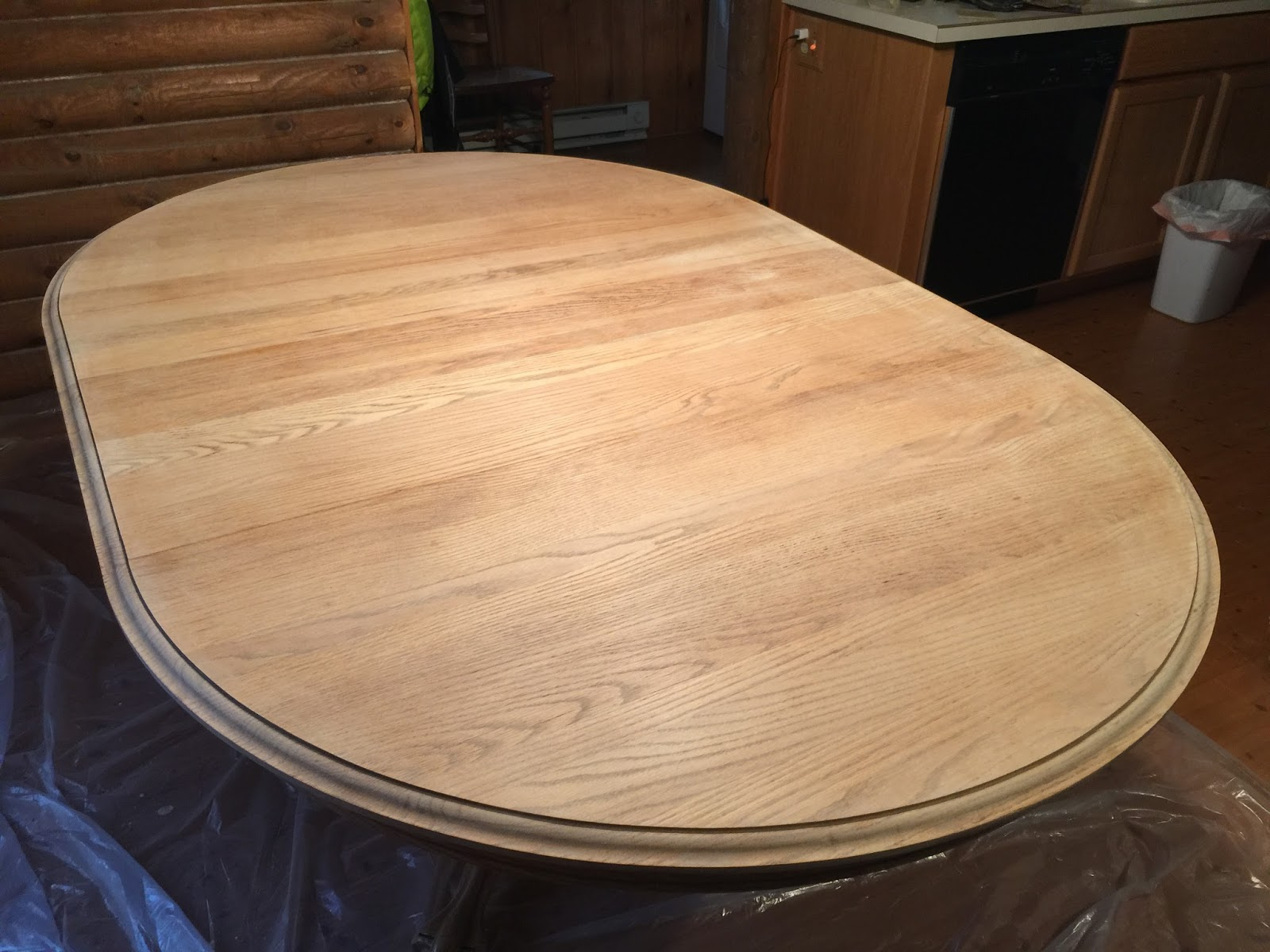 Eclectic Breakfast Refinishing An Oak Table Top