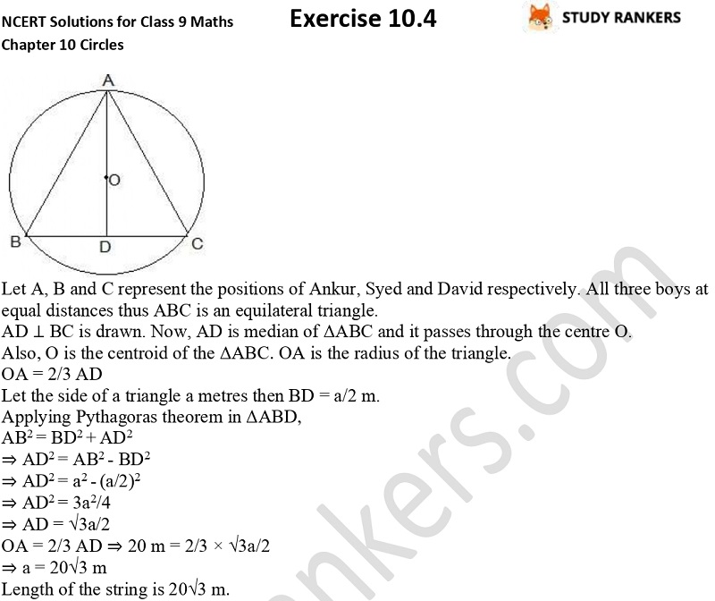 NCERT Solutions for Class 9 Maths Chapter 10 Circles Exercise 10.4 Part 5