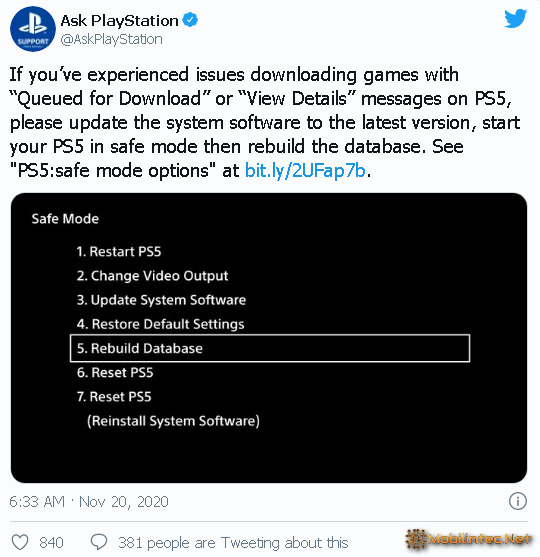 Rebiuild database to fix queued for download ps5