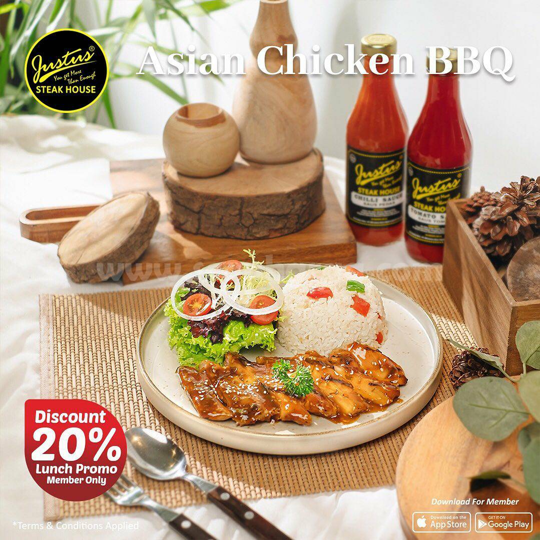 Promo Justus Steak House Lunch Diskon 20% khusus Member