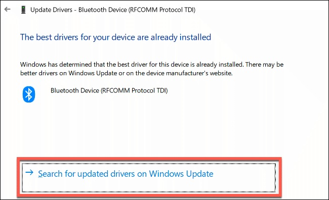 windows update driver bluetooth