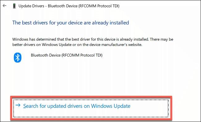 windows update driver bluetooth