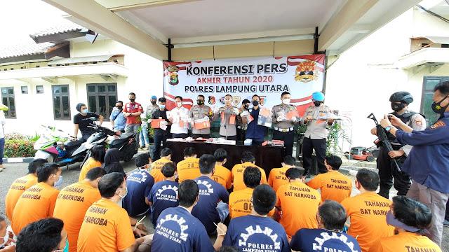 Menjelang  Pergantian Tahun 2020   Kapolres Lampung Utara  Pimpin Langsung Kegiatan Konferensi Pers