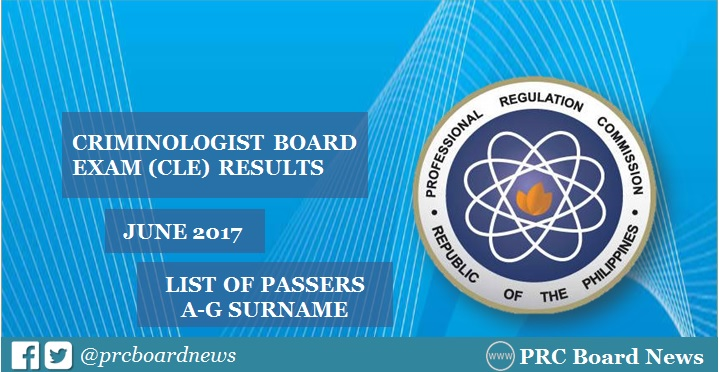 CLE Results: June 2017 Criminology board exam A-G Passers