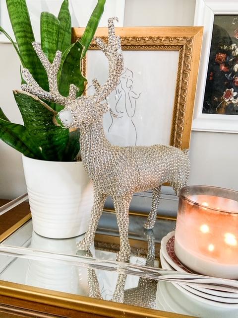 sparkly winter deer in kitchen