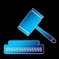 Desenho de um martelo azul representando texto sobre curador especial no despejo judicial.