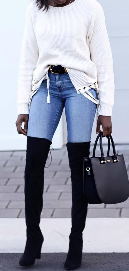 what to wear with over the knee boots : sweater + bag + skinny jeans