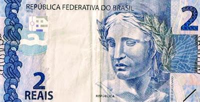 A foto mostra a cédula de R$ 2,00 Reais que significa que o magistério está desvalorizado.