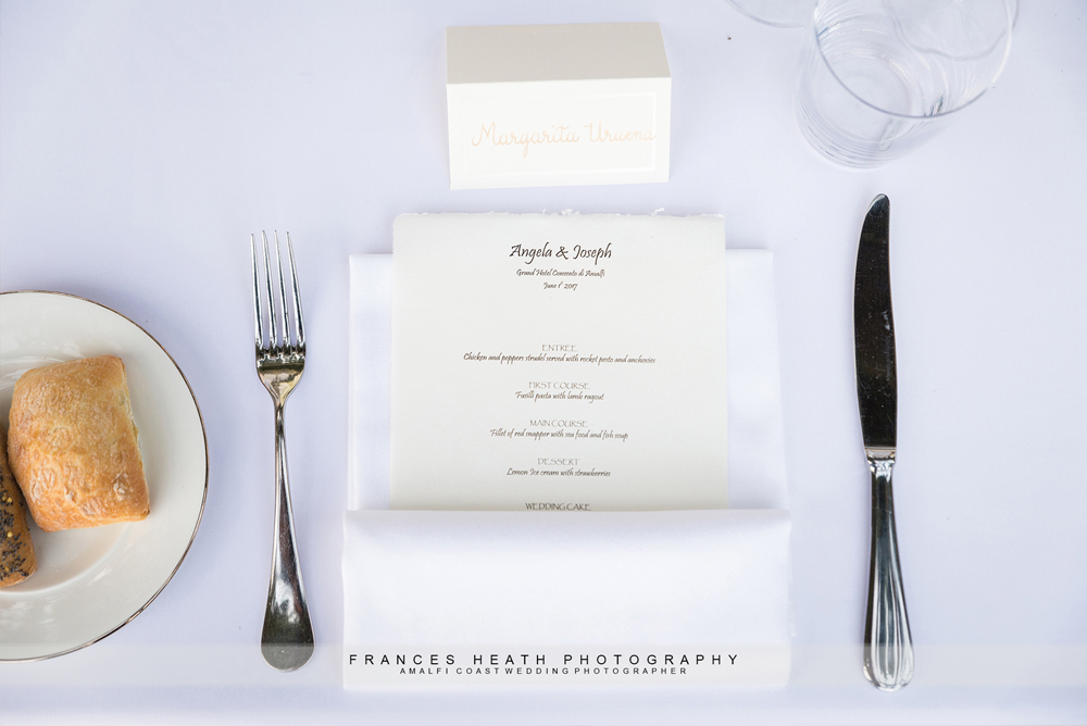 Wedding menu place setting