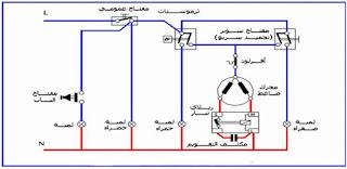 الدائرة الكهربائية للديب فريزر الأفقي  (اذابة الثلج يدوياً)