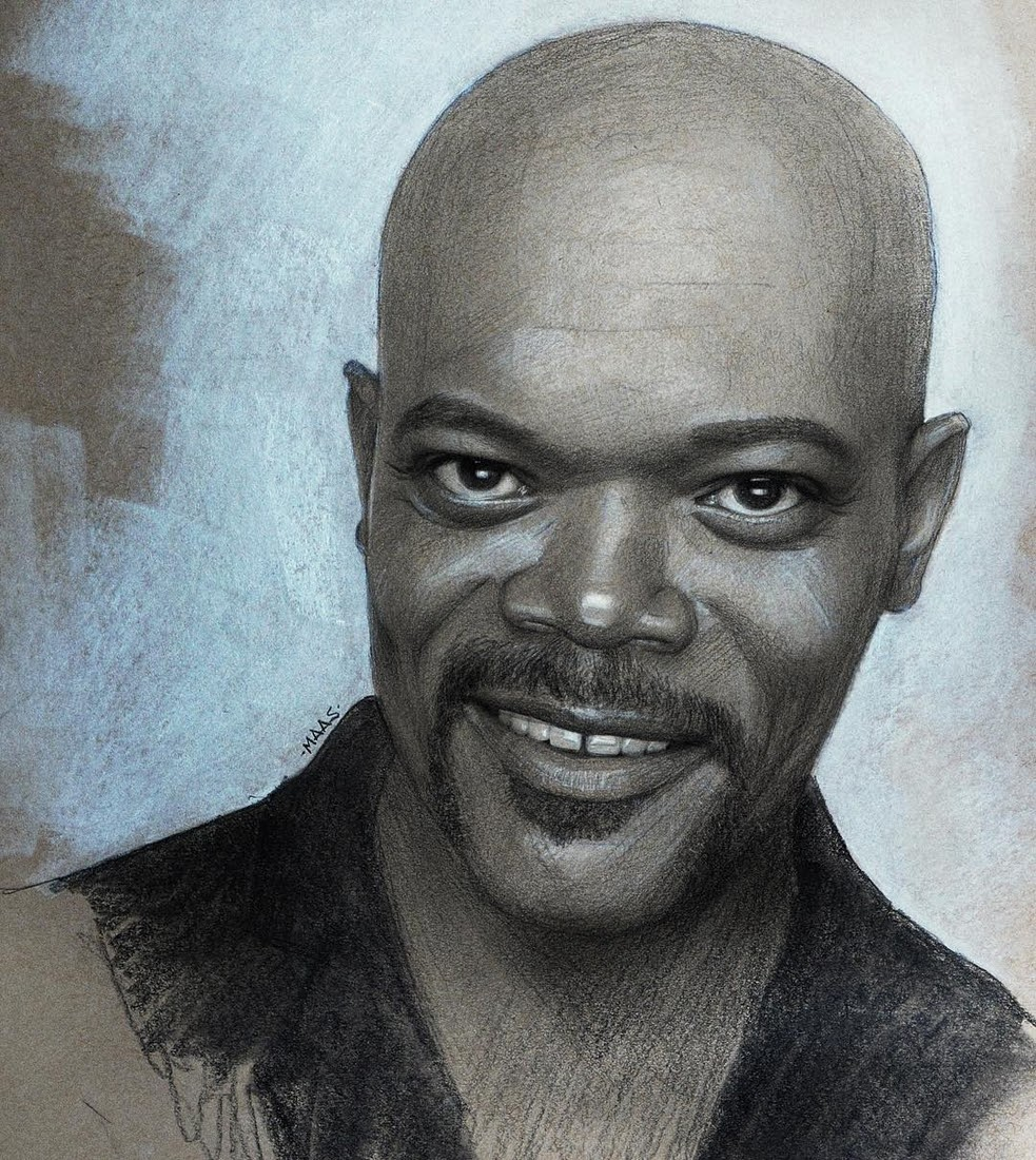 04-Samuel-L-Jackson-Justin-Maas-Pastel-Charcoal-and-Graphite-Celebrity-Portraits-www-designstack-co