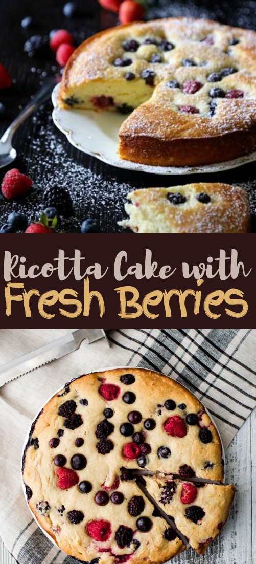 Easy Ricotta Cake with Fresh Berries #dessertrecipe #chocolatecake #cheesecake #cookiessimplerecipe