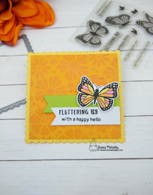 Fluttering by with a happy hello by Diane features Monarchs, Bold Blooms, Frames Squared, and Frames & Flags by Newton's Nook Designs; #newtonsnook, #inkypaws, #springcard, #butterflycard