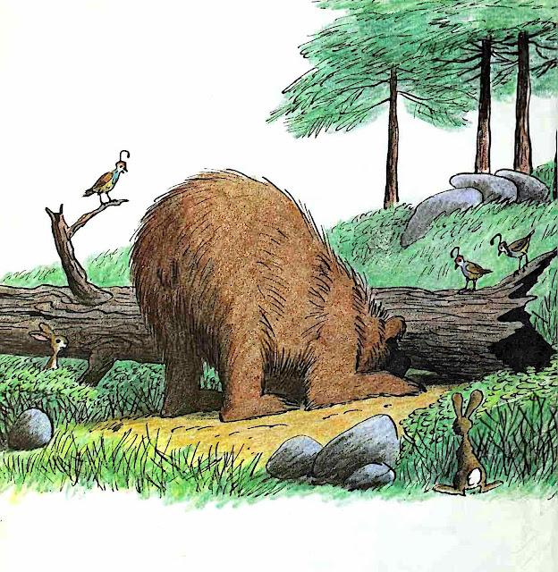 from a Bill Peet children's book, a bear looking under a log