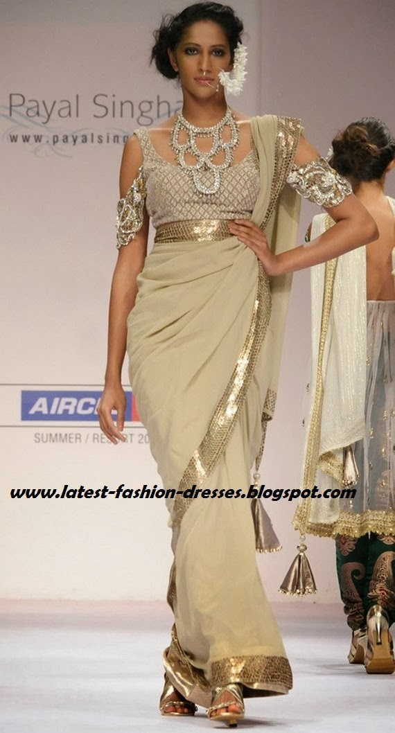 PAYAL SINGHAL GREAM COLOUR SAREE
