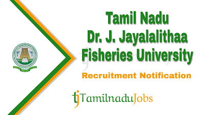 TNJFU Recruitment 2019, TNJFU Recruitment Notification 2019, govt jobs in tamil nadu, tn gov jobs, Latest TNJFU Recruitment update