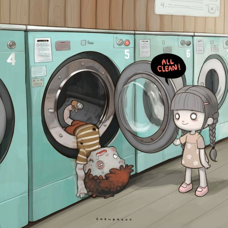Nocturnal Devil - Nice Illustrations - Washing Machine