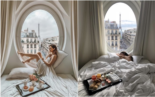 The hotel has a luxurious doorway, overlooking the Eiffel Tower