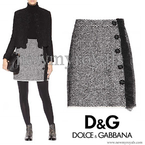 Kate Middleton wore Dolce & Gabbana Boucle Wool Blend Skirt