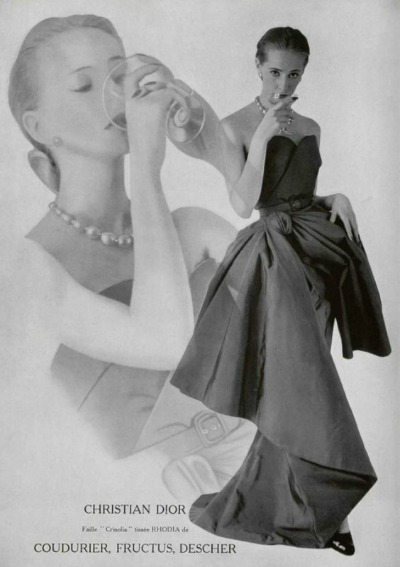 Model wearing 1951 Christian Dior gown in 1951 advertisement