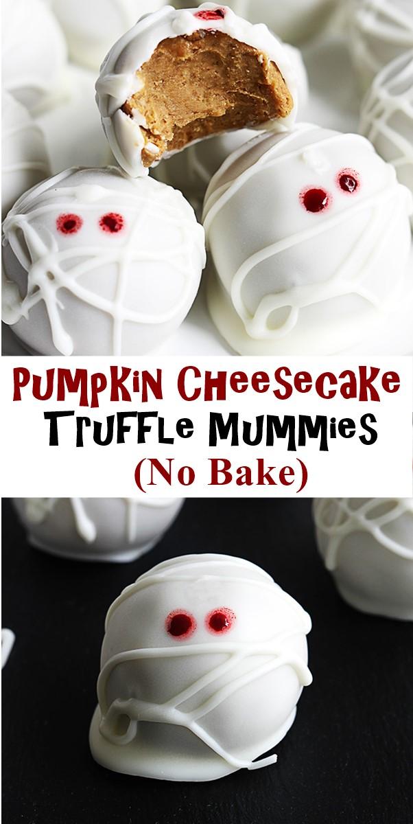 Pumpkin Cheesecake Truffle Mummies (No Bake) #halloweenrecipes