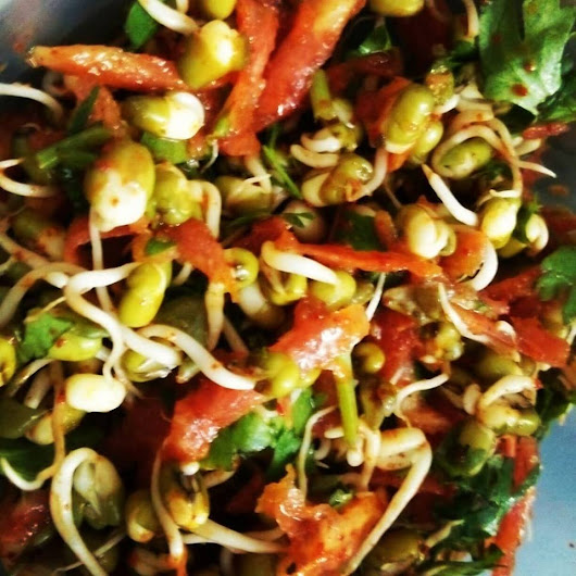 Moong sprout and Carrot salad.