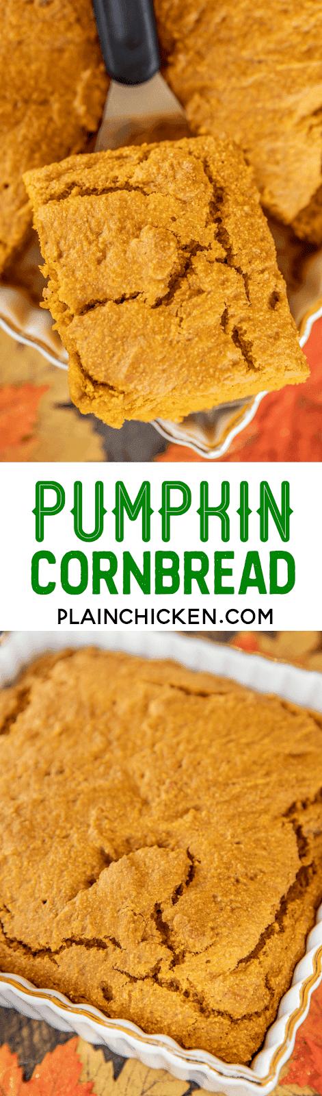 collage of 2 photos of pumpkin cornbread