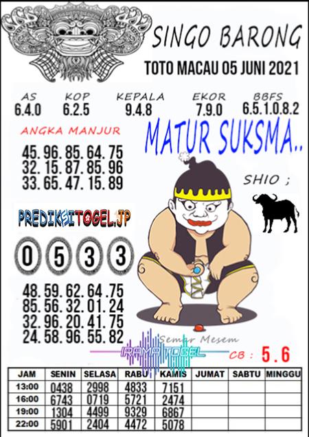 Syair Top Singo Barong Toto Macau Sabtu 05 Juni 2021