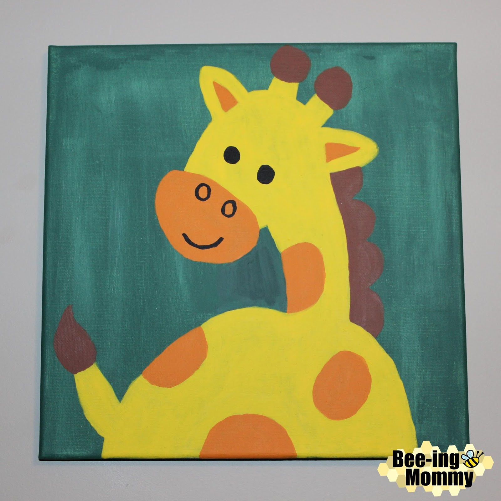 Bee-ing Mommy Blog: Zoo Animal Paintings: Giraffe, Lion & Zebra