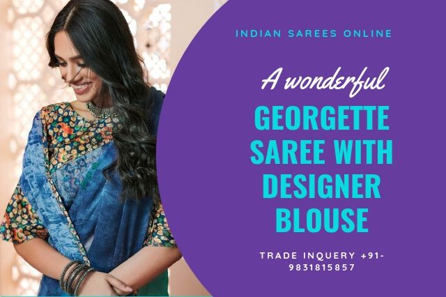plane georgette saree with designer blouse