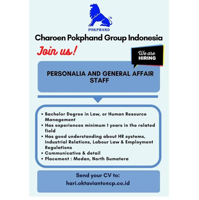 Lowongan Kerja Medan Affair Staff PT Charoen Pokphand Juni 2021