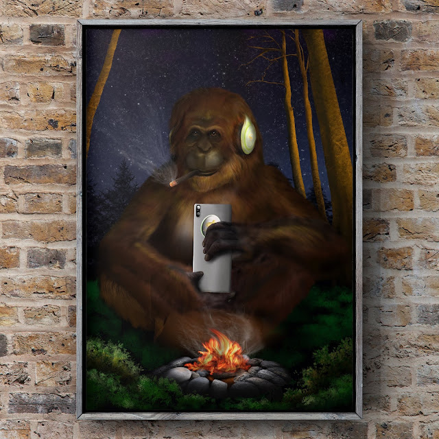 finding human by Mark Taylor, bigfoot art, Sasquatch art, campfire art