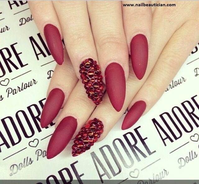Matte wedding nail art