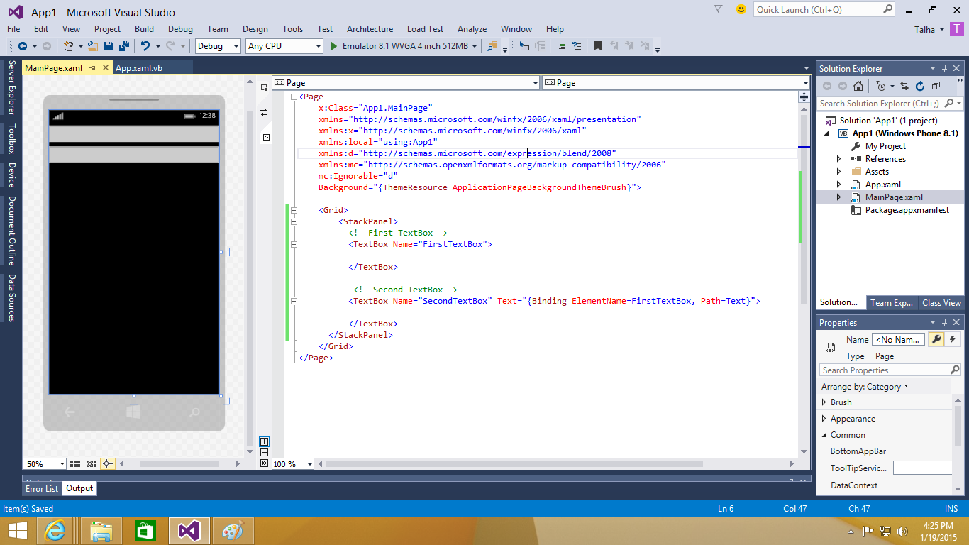 Data Binding In Xaml