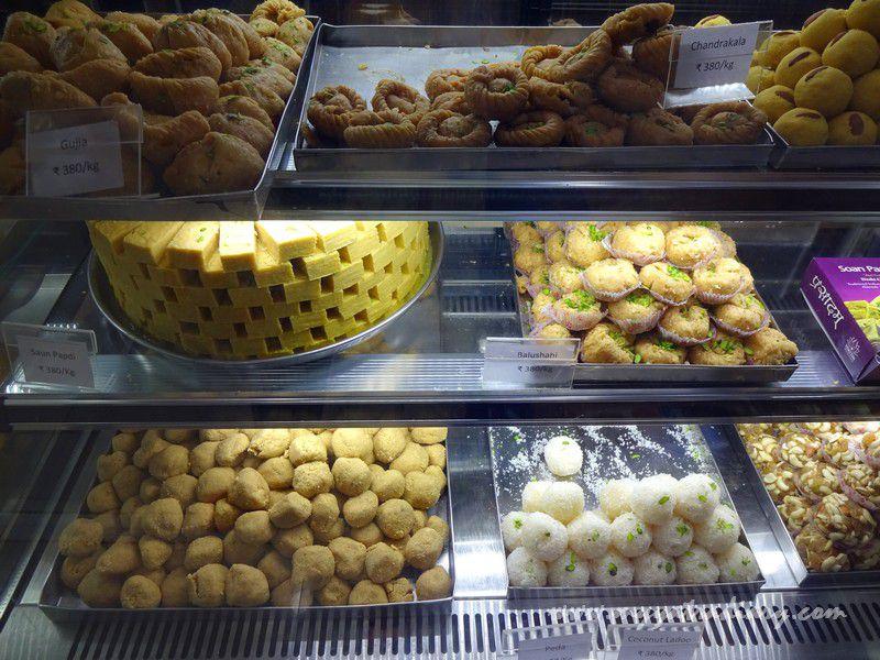 Sweets at Govindas restaurant - ISKCON Shri Krishna Temple Vrindavan