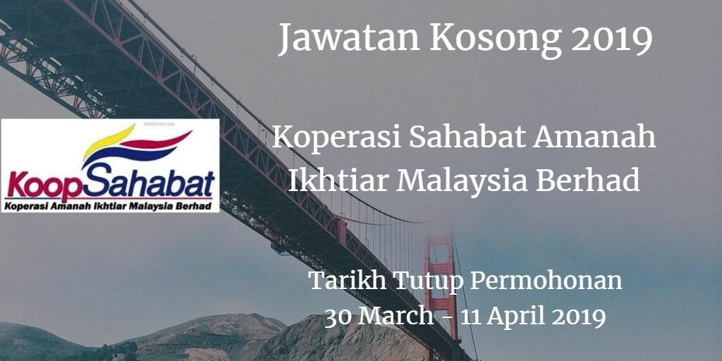 Jawatan Kosong Koperasi Sahabat Amanah Ikhtiar Malaysia Berhad 30 March - 11 April 2019