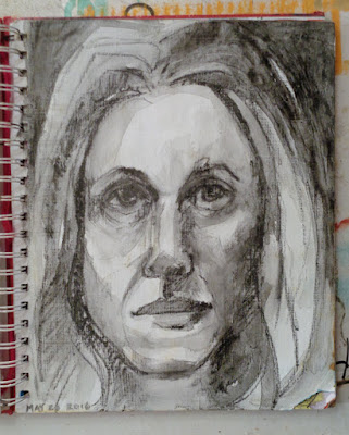 daily painting self portrait with conte verna vogel
