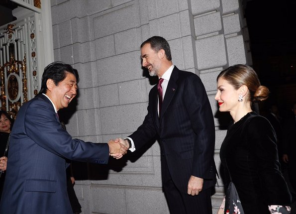 King Felipe and Queen Letizia met with Japan's Prime Minister Shinzo Abe and his wife Akie Abe at Akasaka Palace in Tokyo