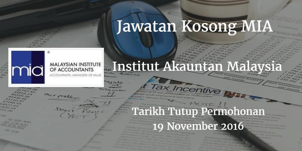 Jawatan Kosong MIA 19 November 2016