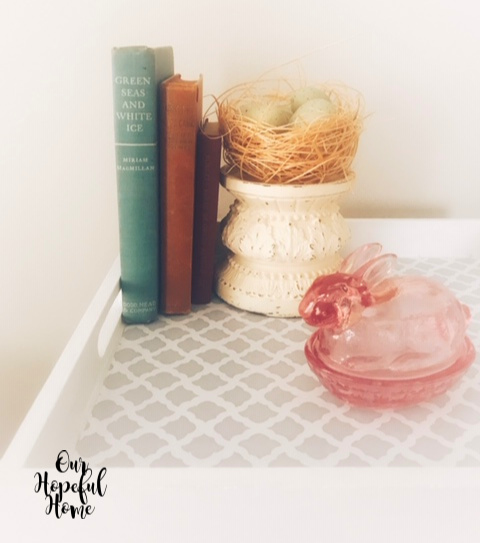 spring birds nest blue eggs pink glass bunny vintage books chippy pedestal