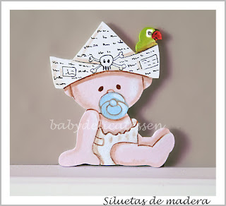 silueta de madera infantil bebé pirata de babydelicatessen