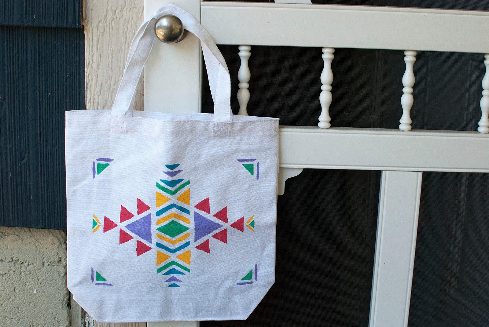 strawberry roan tutorial diy aztec print tote bag. Black Bedroom Furniture Sets. Home Design Ideas