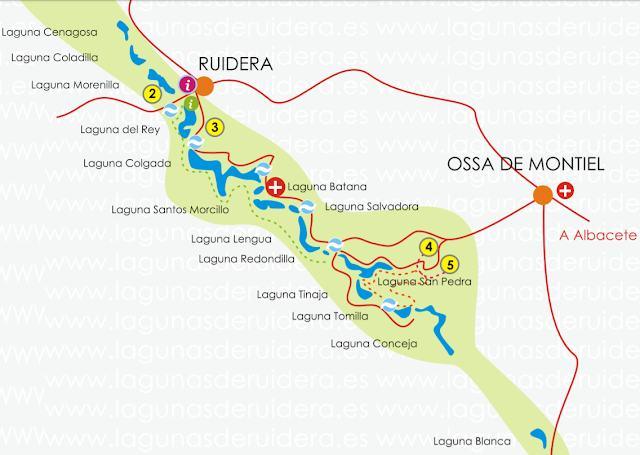 mapa para visitar las Lagunas de Ruidera