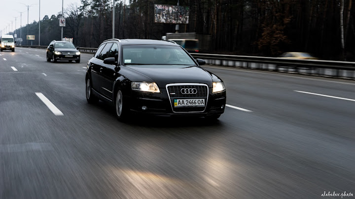 rolling black audi a6 avant shot on sony a7 with 28-70 lens